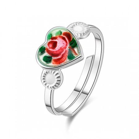 Ring i sølv - Rose motiv.